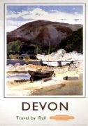 Lynmouth, Devon. Vintage British Railway (WR) Travel poster by Jack Merriott. c1950